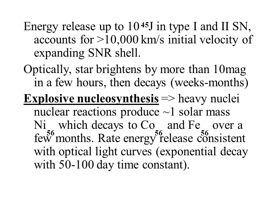 Energy release up to 10 J in type I and II SN, accounts for >10,000 km/s initial velocity of expanding SNR shell.