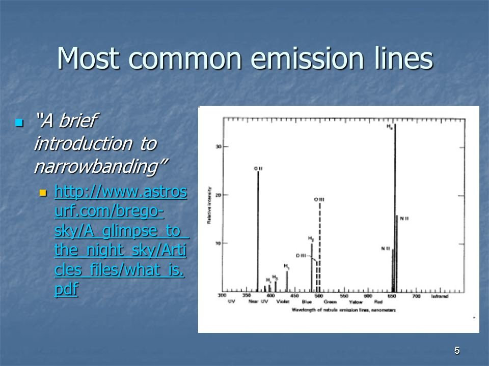 "5 Most common emission lines ""A brief introduction to narrowbanding"" ""A brief introduction to narrowbanding"" http://www.astros urf.com/brego- sky/A_gl"