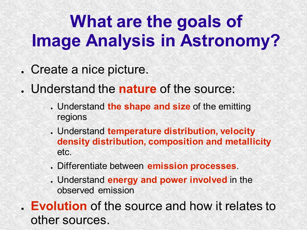 What are the goals of Image Analysis in Astronomy.