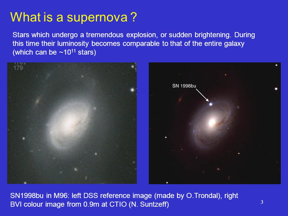 3 What is a supernova . Stars which undergo a tremendous explosion, or sudden brightening.