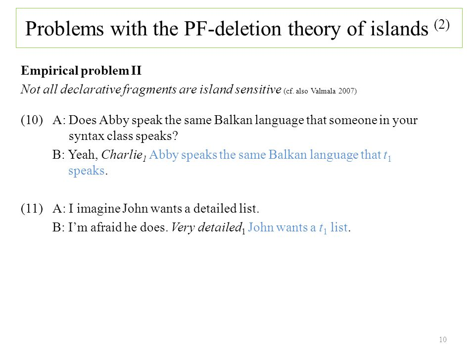 Empirical problem II Not all declarative fragments are island sensitive (cf.
