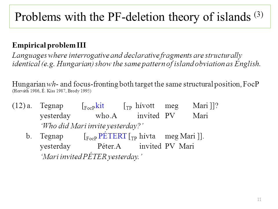 11 Empirical problem III Languages where interrogative and declarative fragments are structurally identical (e.g.