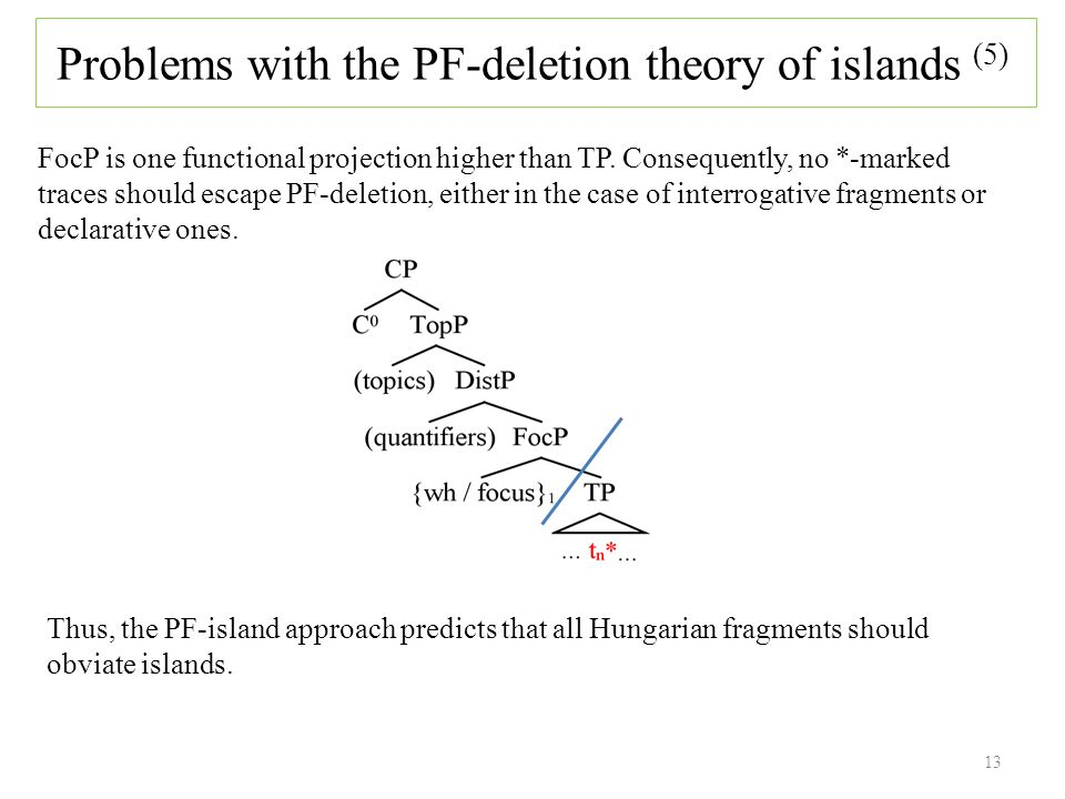 13 FocP is one functional projection higher than TP.