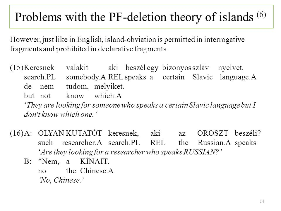14 However, just like in English, island-obviation is permitted in interrogative fragments and prohibited in declarative fragments.