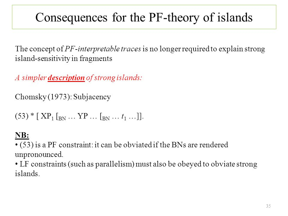 35 Consequences for the PF-theory of islands The concept of PF-interpretable traces is no longer required to explain strong island-sensitivity in fragments A simpler description of strong islands: Chomsky (1973): Subjacency (53) * [ XP 1 [ BN … YP … [ BN … t 1 …]].