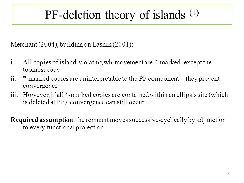 The island sensitivity of contrastive focus can be evidenced in Hungarian: when an island contains contrastive focus, the entire island must be pied-piped to the preverbal FocP: (46) János was (only) happy when JULI arrived.