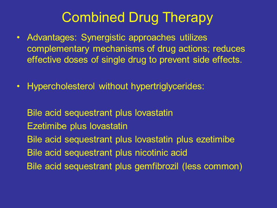 Combined Drug Therapy Advantages: Synergistic approaches utilizes complementary mechanisms of drug actions; reduces effective doses of single drug to