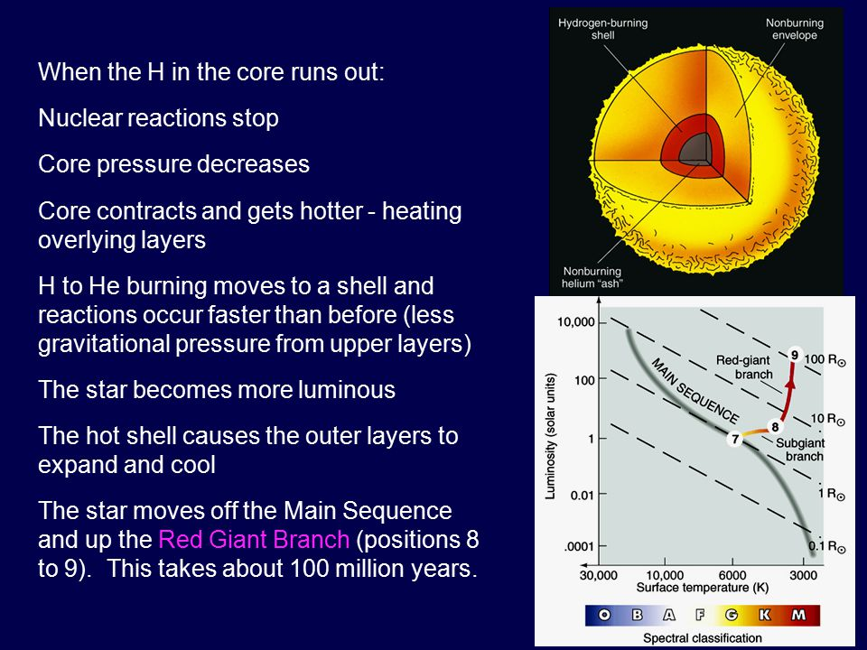The onset of this burning causes the temperature & luminosity to rise sharply in a runaway explosion called the Helium Flash (position 9).