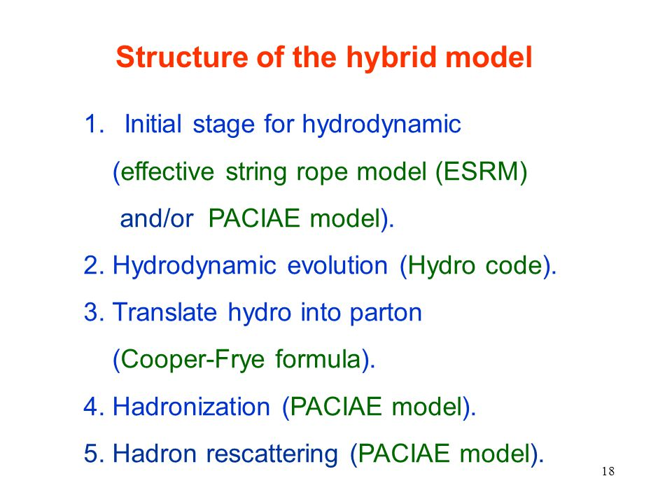 18 1. Initial stage for hydrodynamic (effective string rope model (ESRM) and/or PACIAE model).
