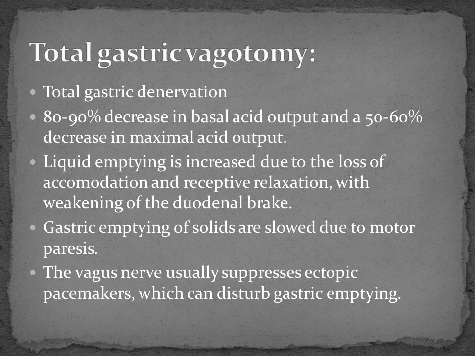 Total gastric denervation 80-90% decrease in basal acid output and a 50-60% decrease in maximal acid output. Liquid emptying is increased due to the l