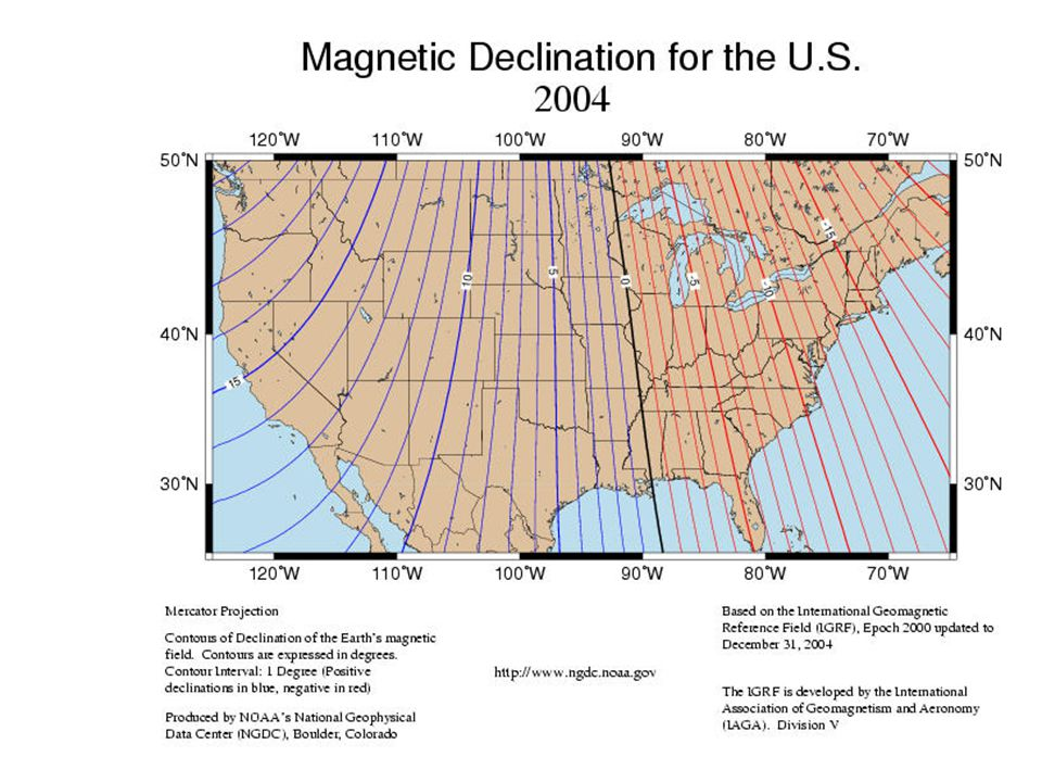 Angle of magnetic pole – angle of geographic pole = magnetic declination North and south poles are the points of intersection of the axis of the magne