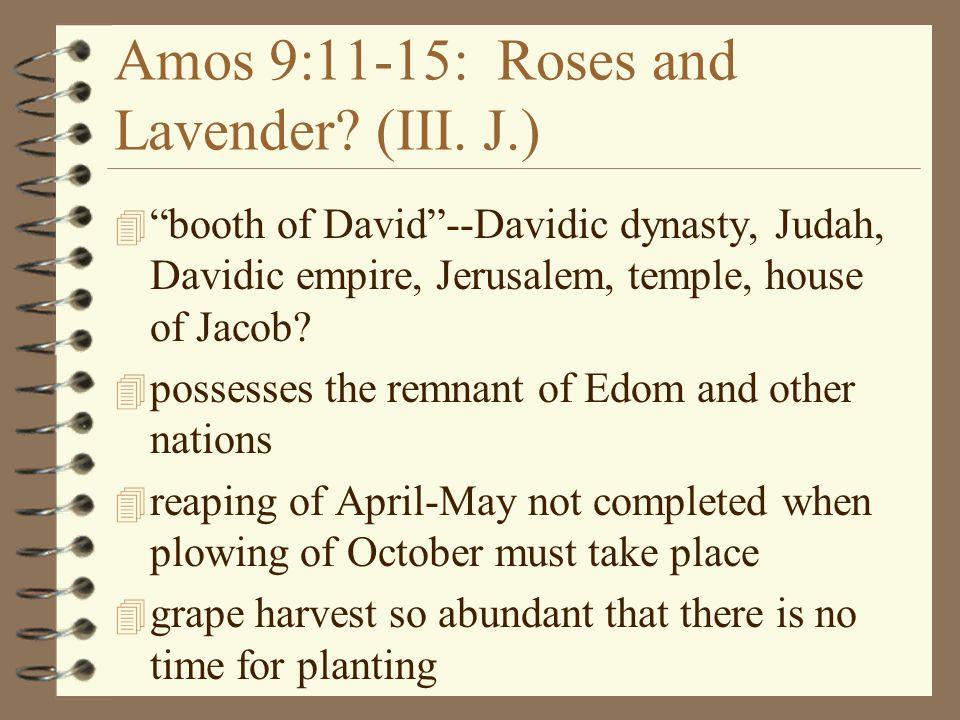 "Amos 9:11-15: Roses and Lavender? (III. J.) 4 ""booth of David""--Davidic dynasty, Judah, Davidic empire, Jerusalem, temple, house of Jacob? 4 possesses"