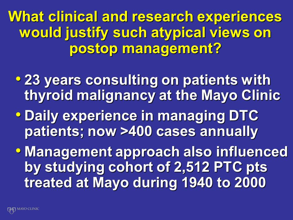 What clinical and research experiences would justify such atypical views on postop management.