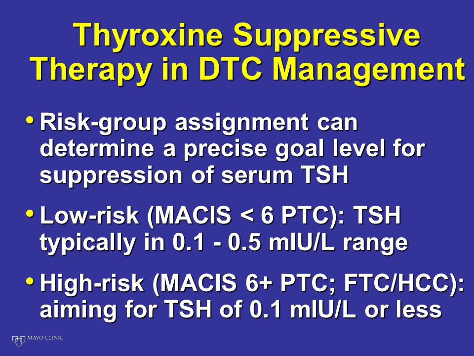 Thyroxine Suppressive Therapy in DTC Management Risk-group assignment can determine a precise goal level for suppression of serum TSH Risk-group assignment can determine a precise goal level for suppression of serum TSH Low-risk (MACIS < 6 PTC): TSH typically in 0.1 - 0.5 mIU/L range Low-risk (MACIS < 6 PTC): TSH typically in 0.1 - 0.5 mIU/L range High-risk (MACIS 6+ PTC; FTC/HCC): aiming for TSH of 0.1 mIU/L or less High-risk (MACIS 6+ PTC; FTC/HCC): aiming for TSH of 0.1 mIU/L or less