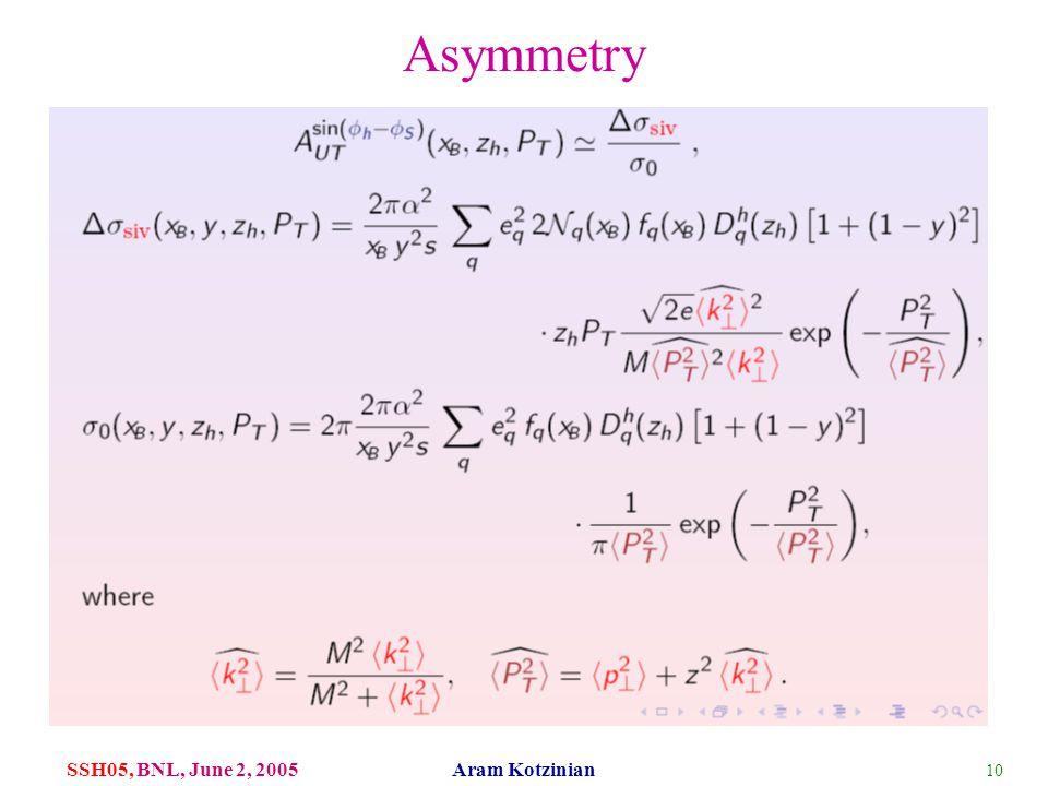 10 SSH05, BNL, June 2, 2005 Aram Kotzinian Asymmetry