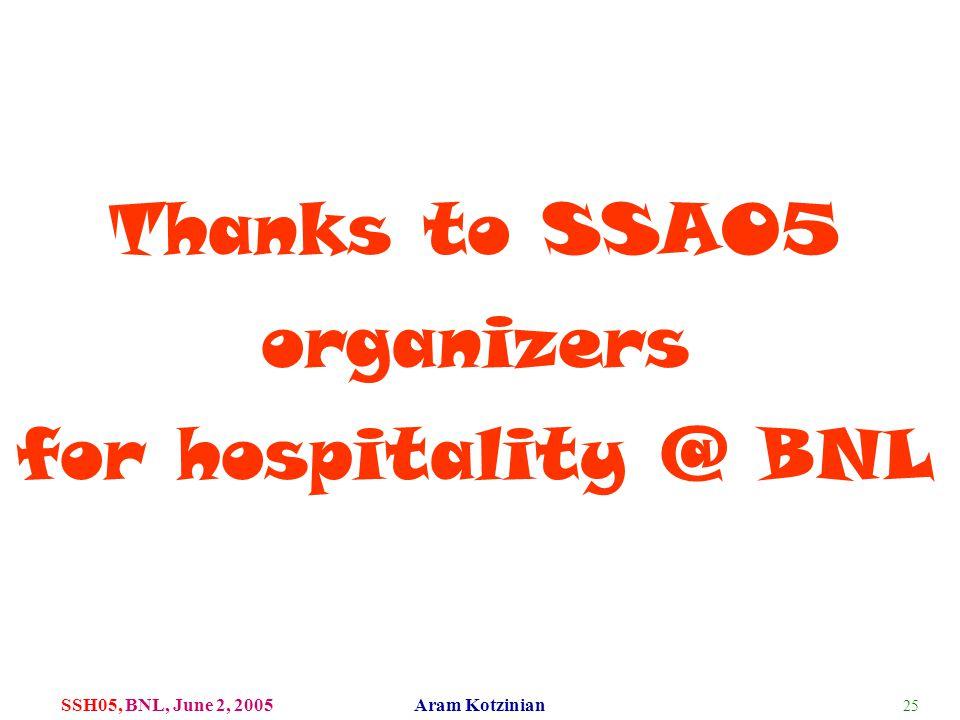25 SSH05, BNL, June 2, 2005 Aram Kotzinian Thanks to SSA05 organizers for hospitality @ BNL