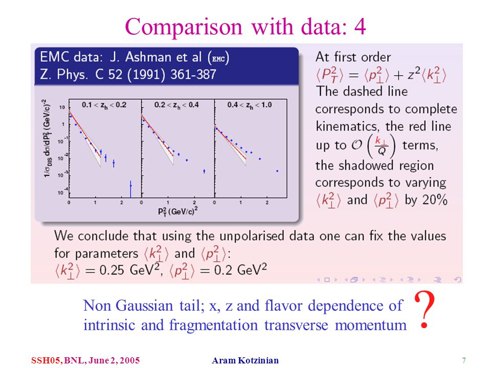 7 SSH05, BNL, June 2, 2005 Aram Kotzinian Comparison with data: 4 Non Gaussian tail; x, z and flavor dependence of intrinsic and fragmentation transve