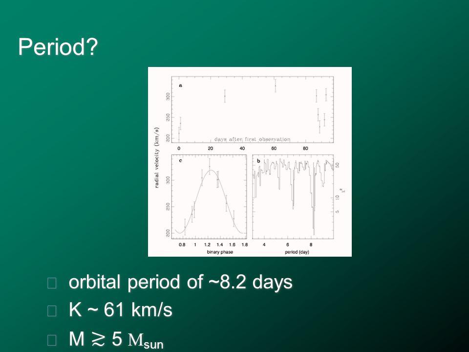 Period? ★ orbital period of ~8.2 days ★ K ~ 61 km/s ★ M ≳ 5 M sun ★ orbital period of ~8.2 days ★ K ~ 61 km/s ★ M ≳ 5 M sun
