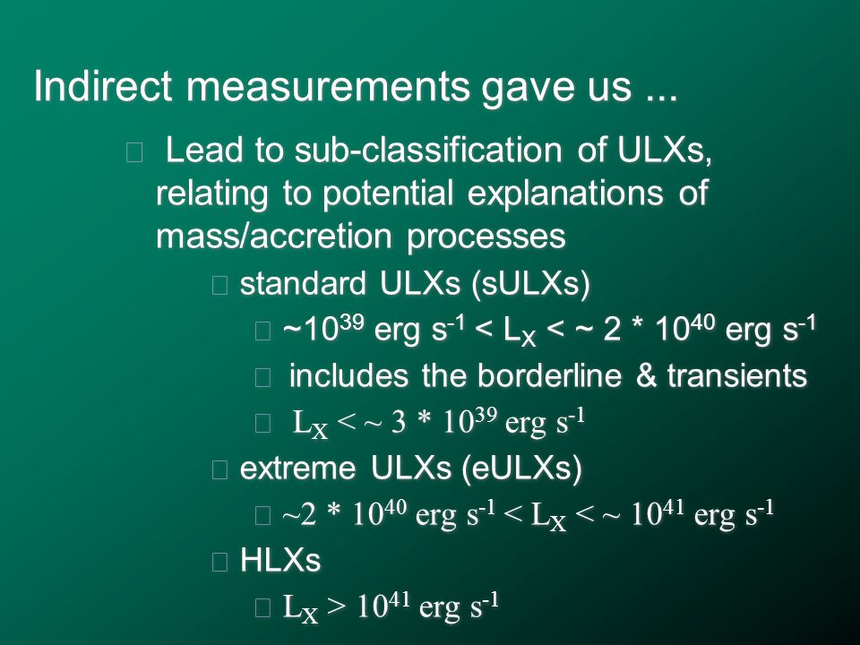 Indirect measurements gave us...