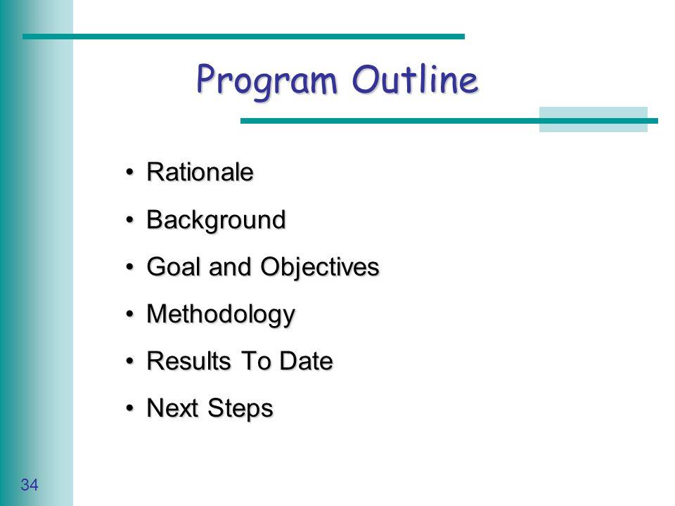 Caring for Your Land Series of Workshop 34 Program Outline RationaleRationale BackgroundBackground Goal and ObjectivesGoal and Objectives MethodologyMethodology Results To DateResults To Date Next StepsNext Steps