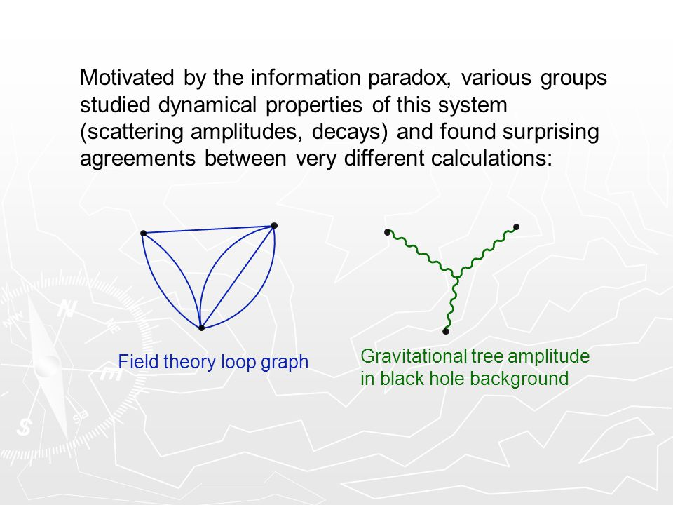 Motivated by the information paradox, various groups studied dynamical properties of this system (scattering amplitudes, decays) and found surprising agreements between very different calculations: Field theory loop graph Gravitational tree amplitude in black hole background