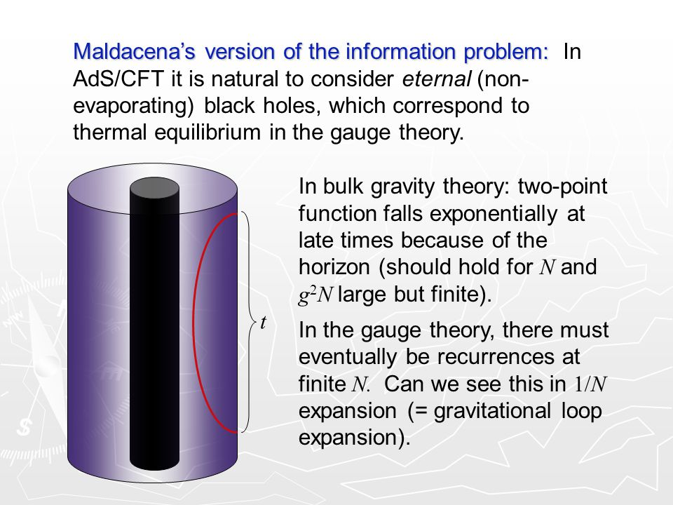 Maldacena's version of the information problem: Maldacena's version of the information problem: In AdS/CFT it is natural to consider eternal (non- evaporating) black holes, which correspond to thermal equilibrium in the gauge theory.