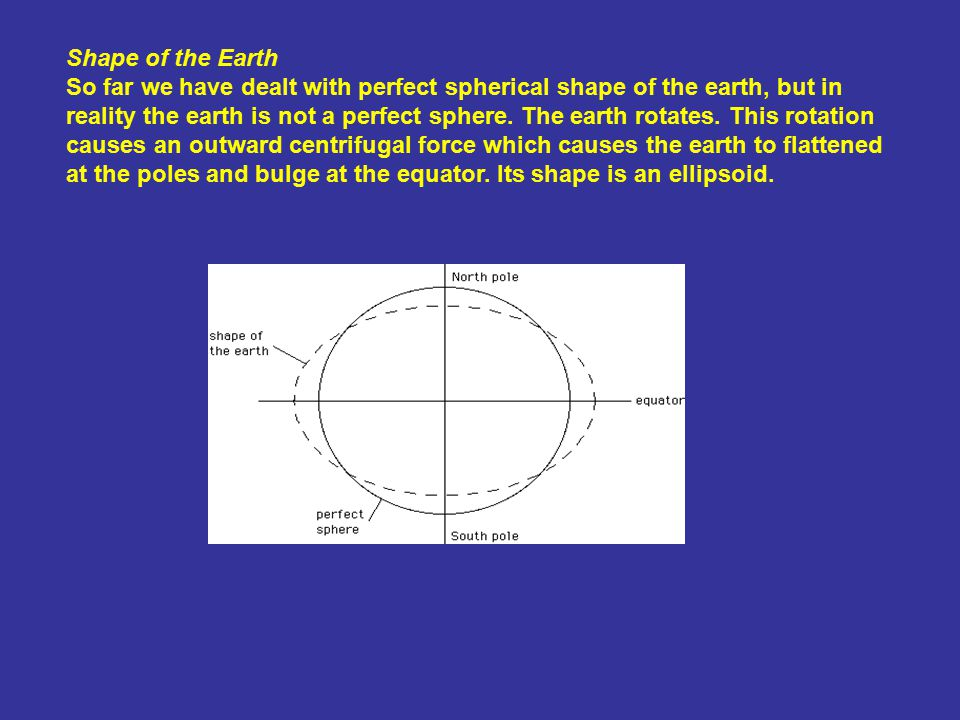 Shape of the Earth So far we have dealt with perfect spherical shape of the earth, but in reality the earth is not a perfect sphere.