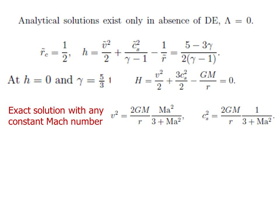 Exact solution with any constant Mach number