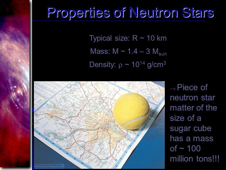 Properties of Neutron Stars Typical size: R ~ 10 km Mass: M ~ 1.4 – 3 M sun Density:  ~ 10 14 g/cm 3  Piece of neutron star matter of the size of a sugar cube has a mass of ~ 100 million tons!!!