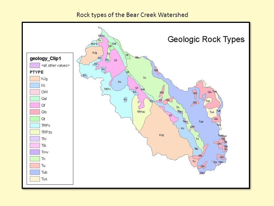 Rock types of the Bear Creek Watershed