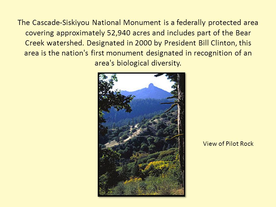 The Cascade-Siskiyou National Monument is a federally protected area covering approximately 52,940 acres and includes part of the Bear Creek watershed