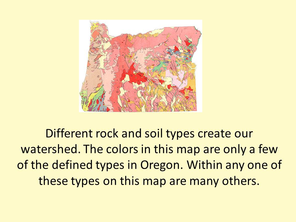 Different rock and soil types create our watershed.