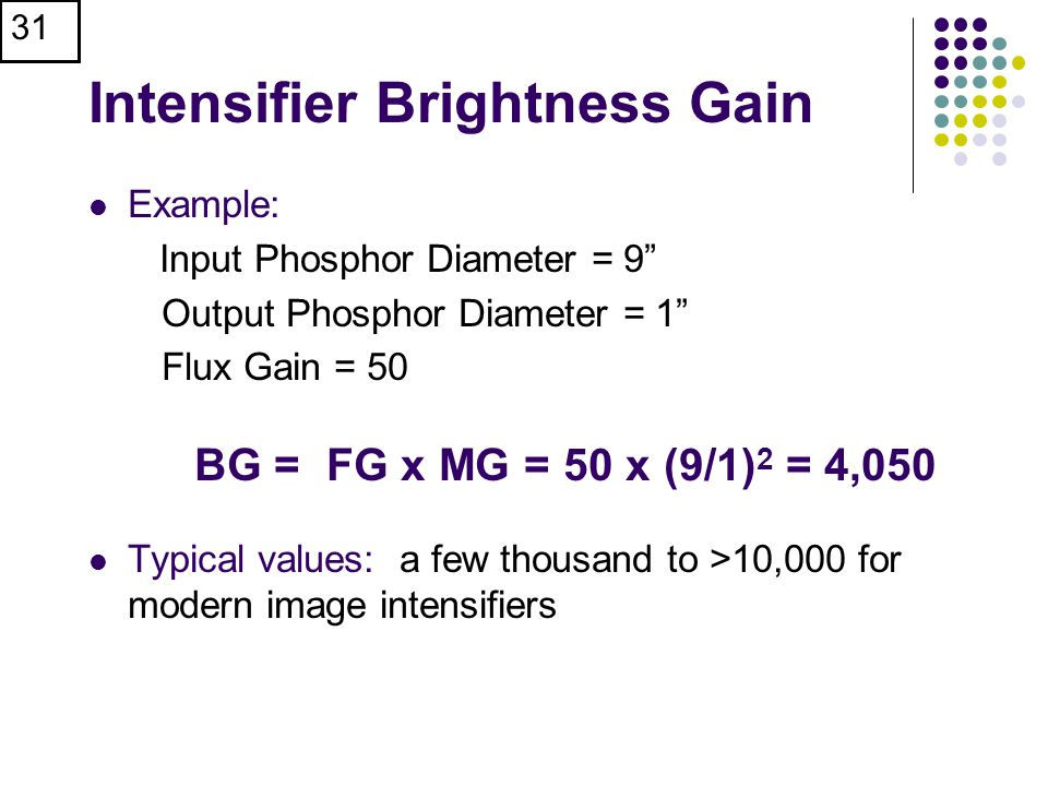 31 Intensifier Brightness Gain Example: Input Phosphor Diameter = 9 Output Phosphor Diameter = 1 Flux Gain = 50 BG = FG x MG = 50 x (9/1) 2 = 4,050 Typical values: a few thousand to >10,000 for modern image intensifiers