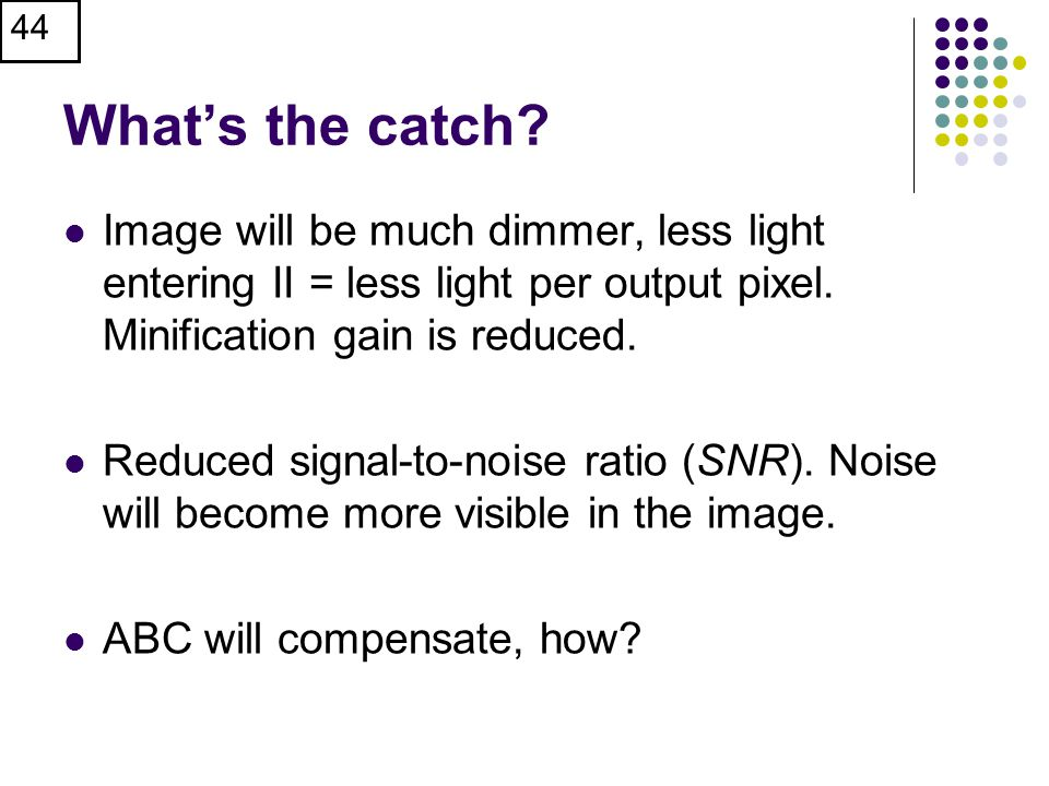 What's the catch.Image will be much dimmer, less light entering II = less light per output pixel.