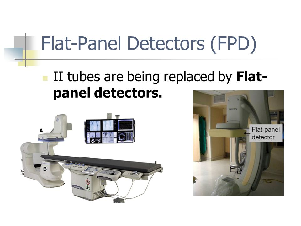 Flat-Panel Detectors (FPD) II tubes are being replaced by Flat- panel detectors.