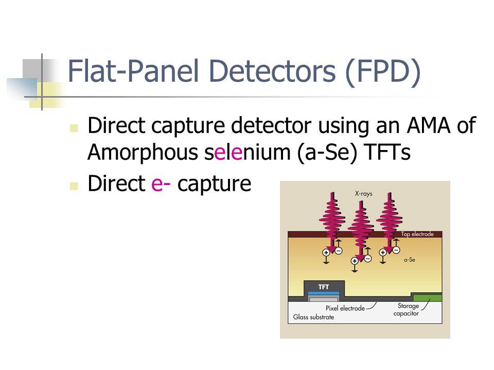 Flat-Panel Detectors (FPD) Direct capture detector using an AMA of Amorphous selenium (a-Se) TFTs Direct e- capture