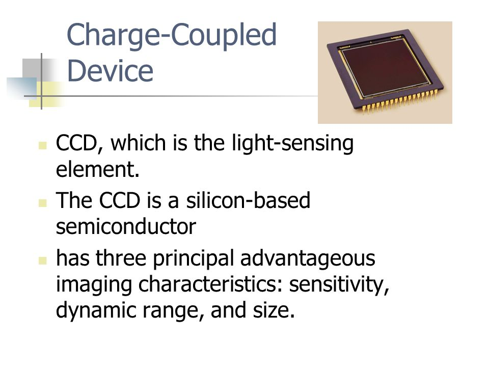 Charge-Coupled Device CCD, which is the light-sensing element.