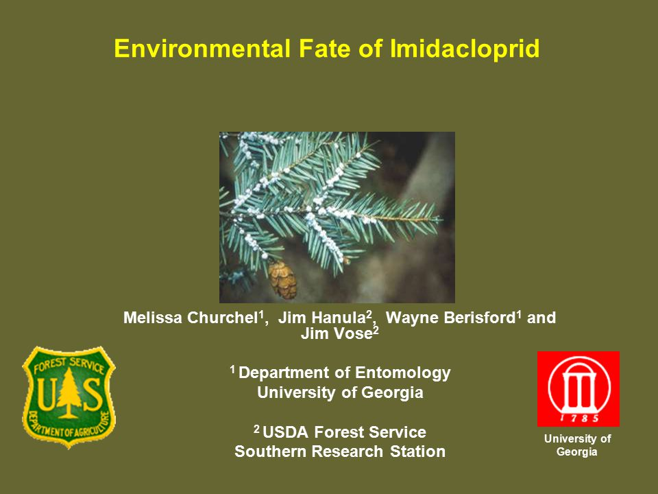 Melissa Churchel 1, Jim Hanula 2, Wayne Berisford 1 and Jim Vose 2 1 Department of Entomology University of Georgia 2 USDA Forest Service Southern Research Station Environmental Fate of Imidacloprid University of Georgia