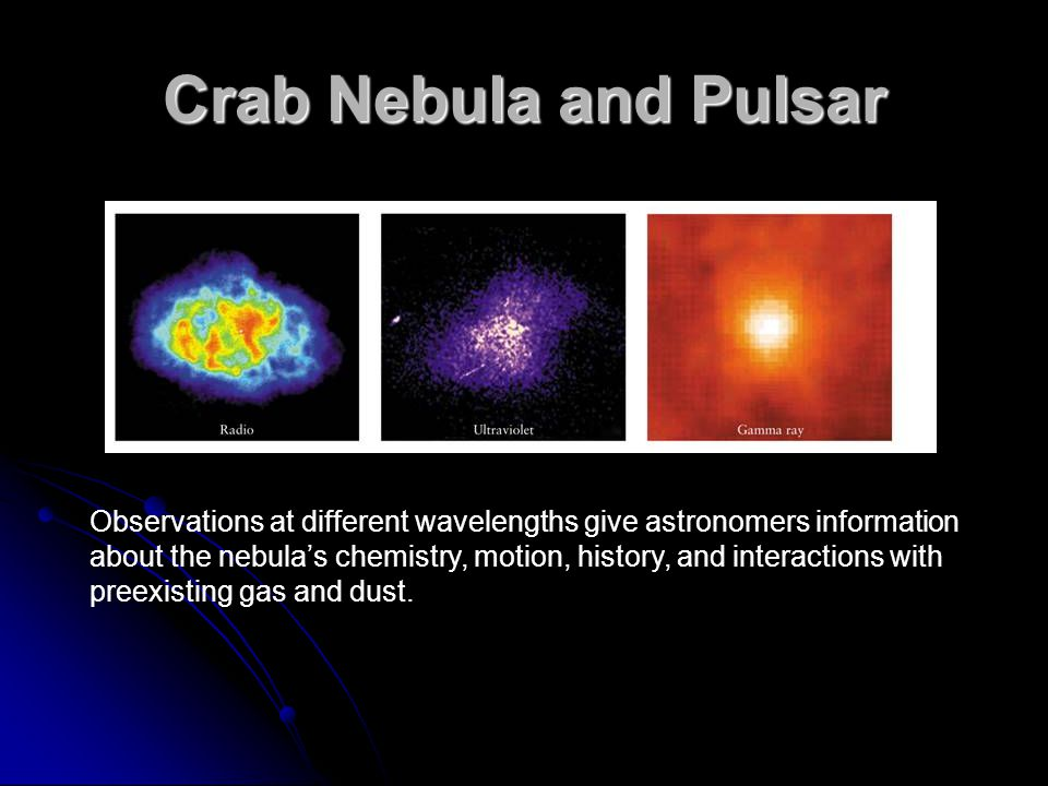Crab Nebula and Pulsar Observations at different wavelengths give astronomers information about the nebula's chemistry, motion, history, and interactions with preexisting gas and dust.