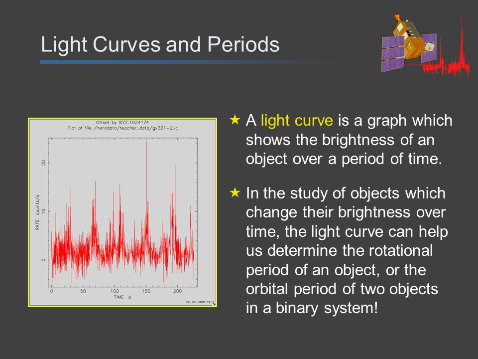 Light Curves and Periods  A light curve is a graph which shows the brightness of an object over a period of time.