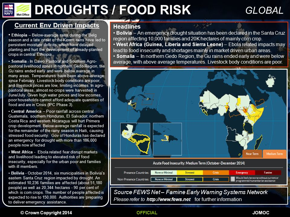 GLOBAL DROUGHTS / FOOD RISK © Crown Copyright 2014OFFICIALJOMOC Headlines Bolivia – An emergency drought situation has been declared in the Santa Cruz region affecting 10,000 families and 20K hectares of mainly corn crop.