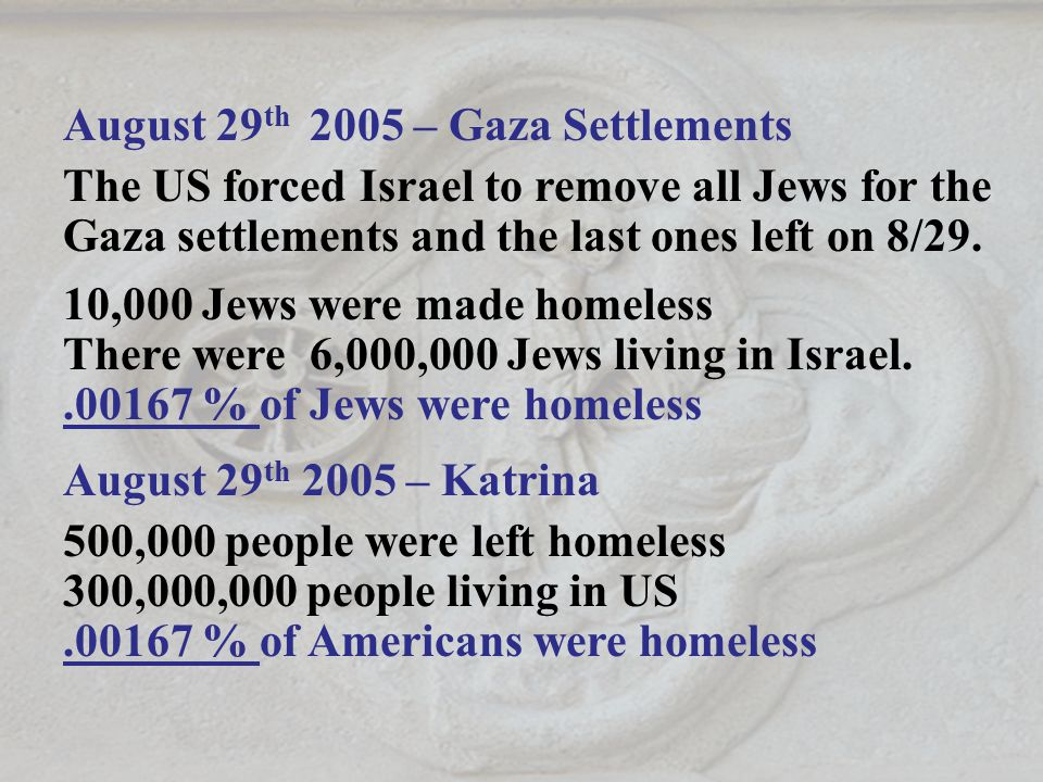 August 29 th 2005 – Gaza Settlements The US forced Israel to remove all Jews for the Gaza settlements and the last ones left on 8/29.