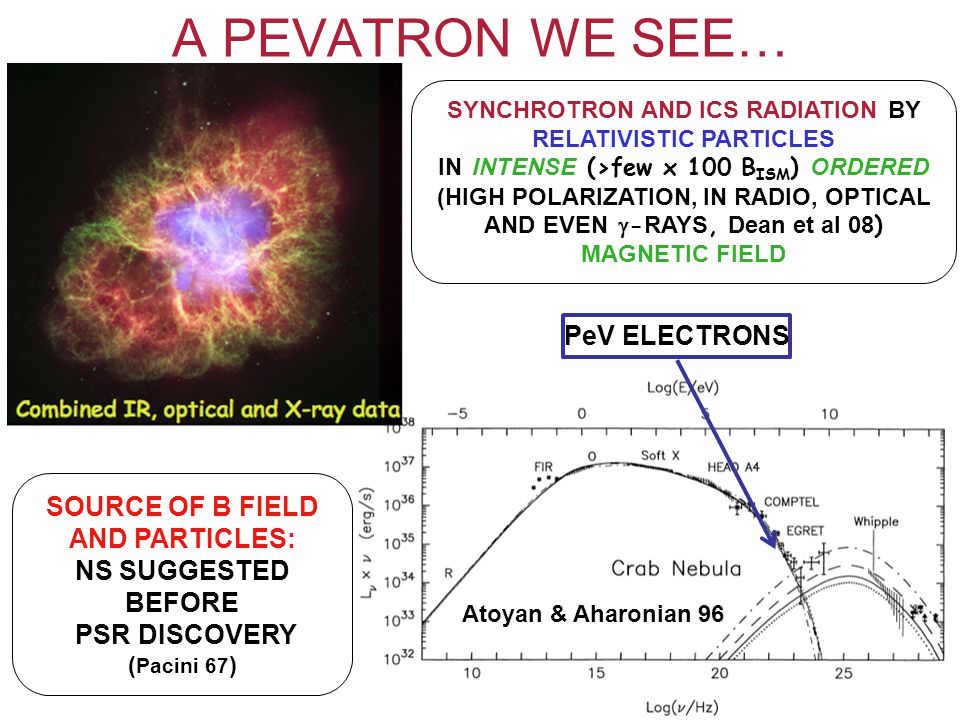 A PEVATRON WE SEE… SYNCHROTRON AND ICS RADIATION BY RELATIVISTIC PARTICLES IN INTENSE (>few x 100 B ISM ) ORDERED (HIGH POLARIZATION, IN RADIO, OPTICAL AND EVEN  - RAYS, Dean et al 08 ) MAGNETIC FIELD SOURCE OF B FIELD AND PARTICLES: NS SUGGESTED BEFORE PSR DISCOVERY ( Pacini 67 ) Atoyan & Aharonian 96 PeV ELECTRONS