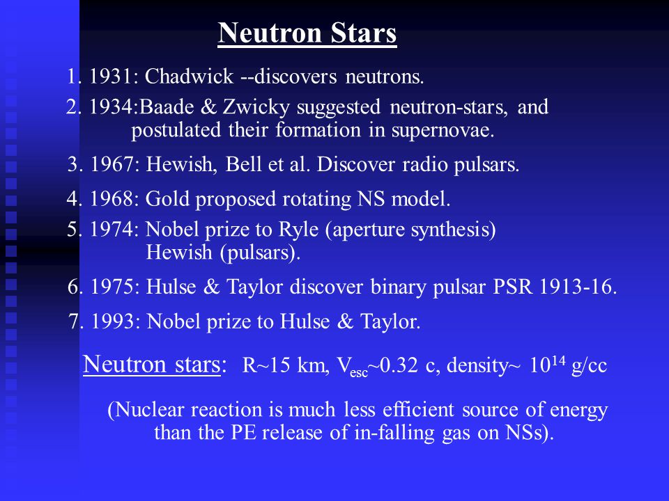 Neutron Stars 1. 1931: Chadwick --discovers neutrons. 2. 1934:Baade & Zwicky suggested neutron-stars, and postulated their formation in supernovae. 3.