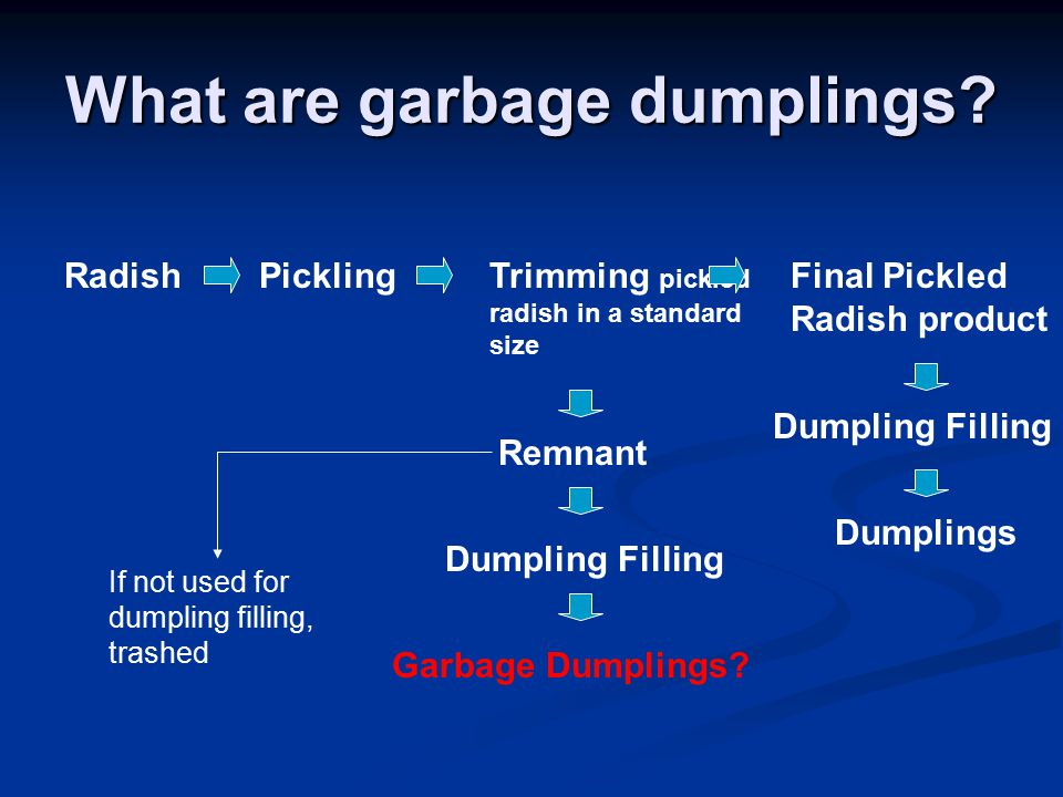 What are garbage dumplings? RadishPicklingTrimming pickled radish in a standard size Remnant Final Pickled Radish product Dumpling Filling Garbage Dum
