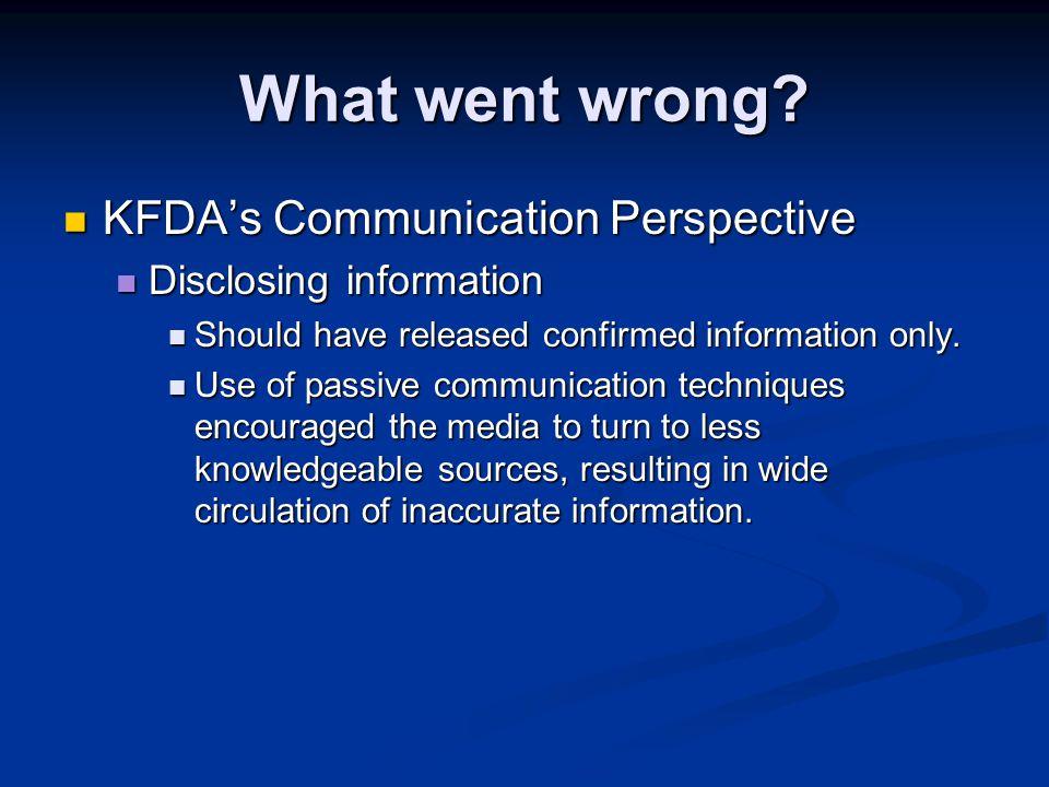 What went wrong? KFDA's Communication Perspective KFDA's Communication Perspective Disclosing information Disclosing information Should have released