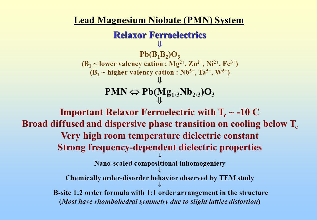 Lead Magnesium Niobate (PMN) System Dielectric properties of Pb(Mg 1/3 Nb 2/3 )O 3 showing diffused phase transition and relaxor characteristics (T max ( at 1 kHz) ~ -10 C with  r max ~ 20,000)