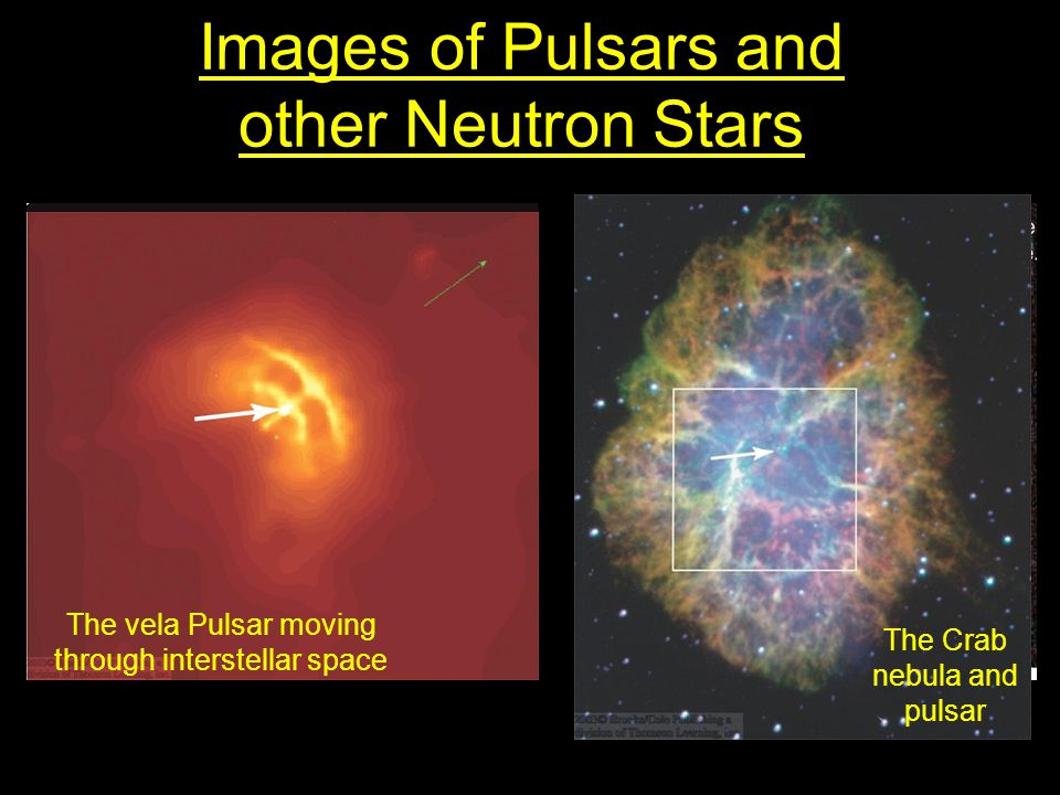 Images of Pulsars and other Neutron Stars The vela Pulsar moving through interstellar space The Crab nebula and pulsar
