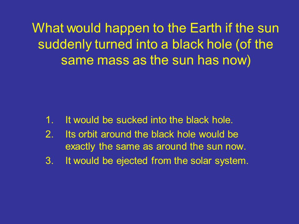 What would happen to the Earth if the sun suddenly turned into a black hole (of the same mass as the sun has now) 1.It would be sucked into the black