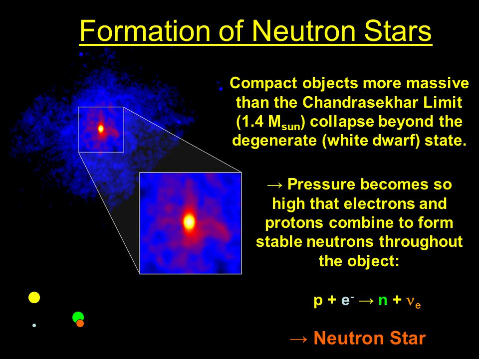 Formation of Neutron Stars Compact objects more massive than the Chandrasekhar Limit (1.4 M sun ) collapse beyond the degenerate (white dwarf) state.